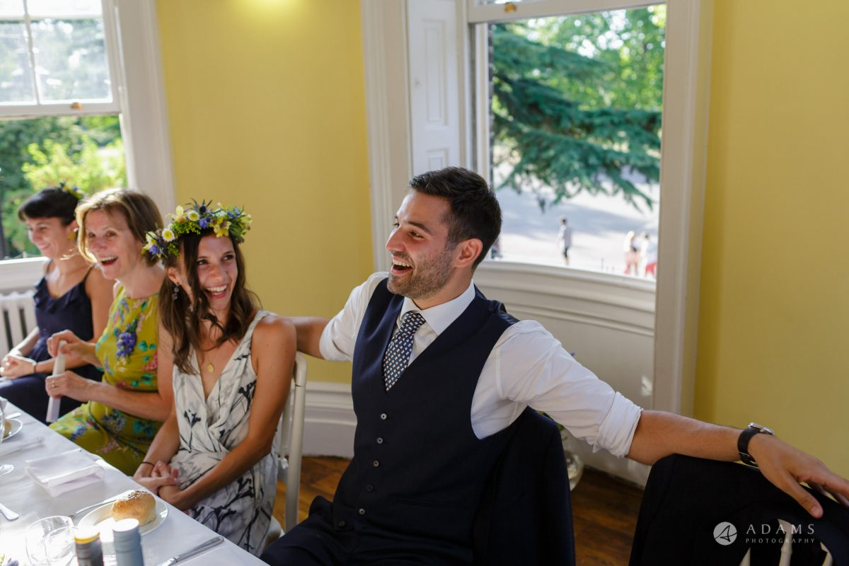 Clissold house wedding groom laughs