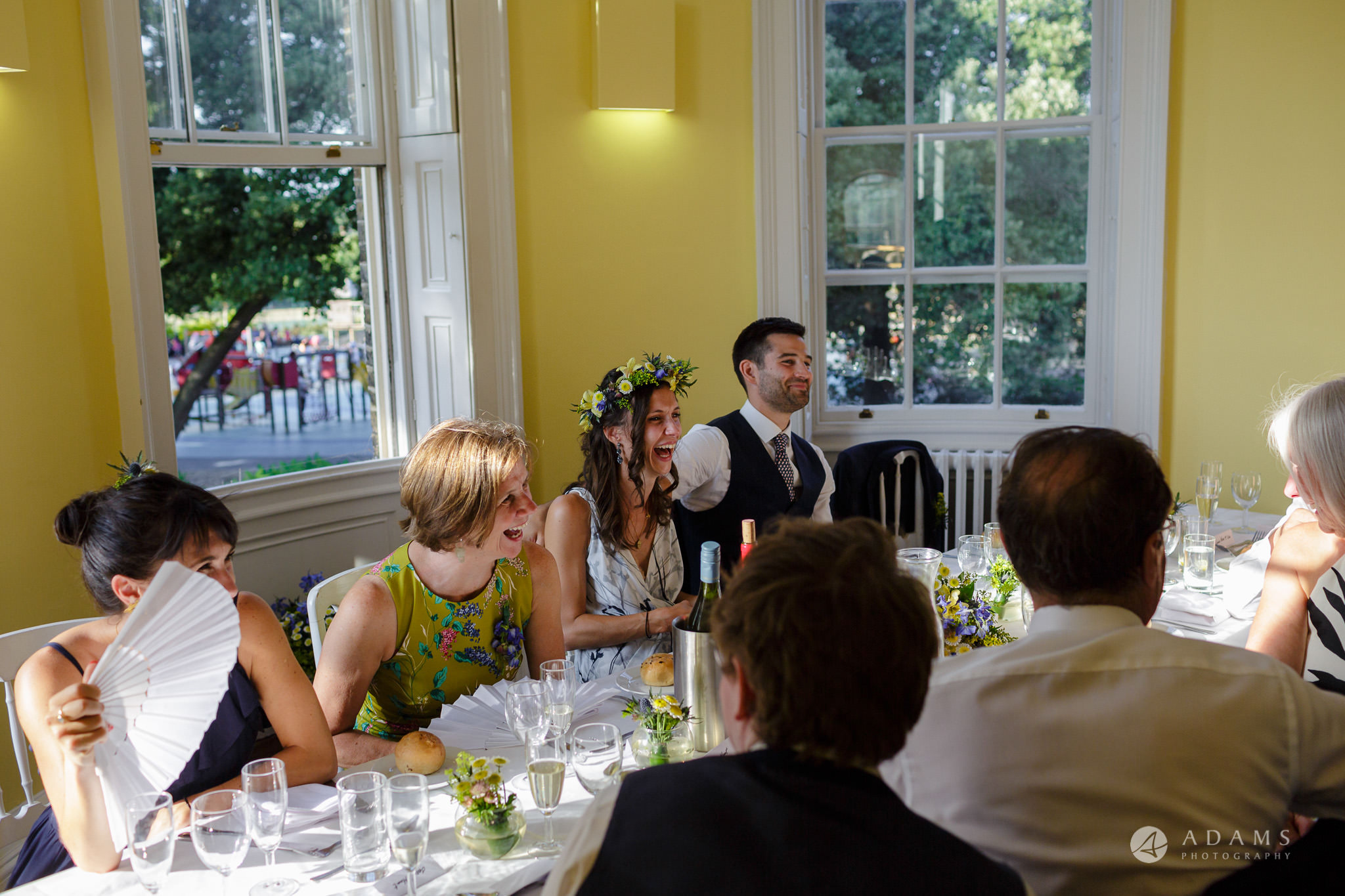Clissold house wedding top table laughig