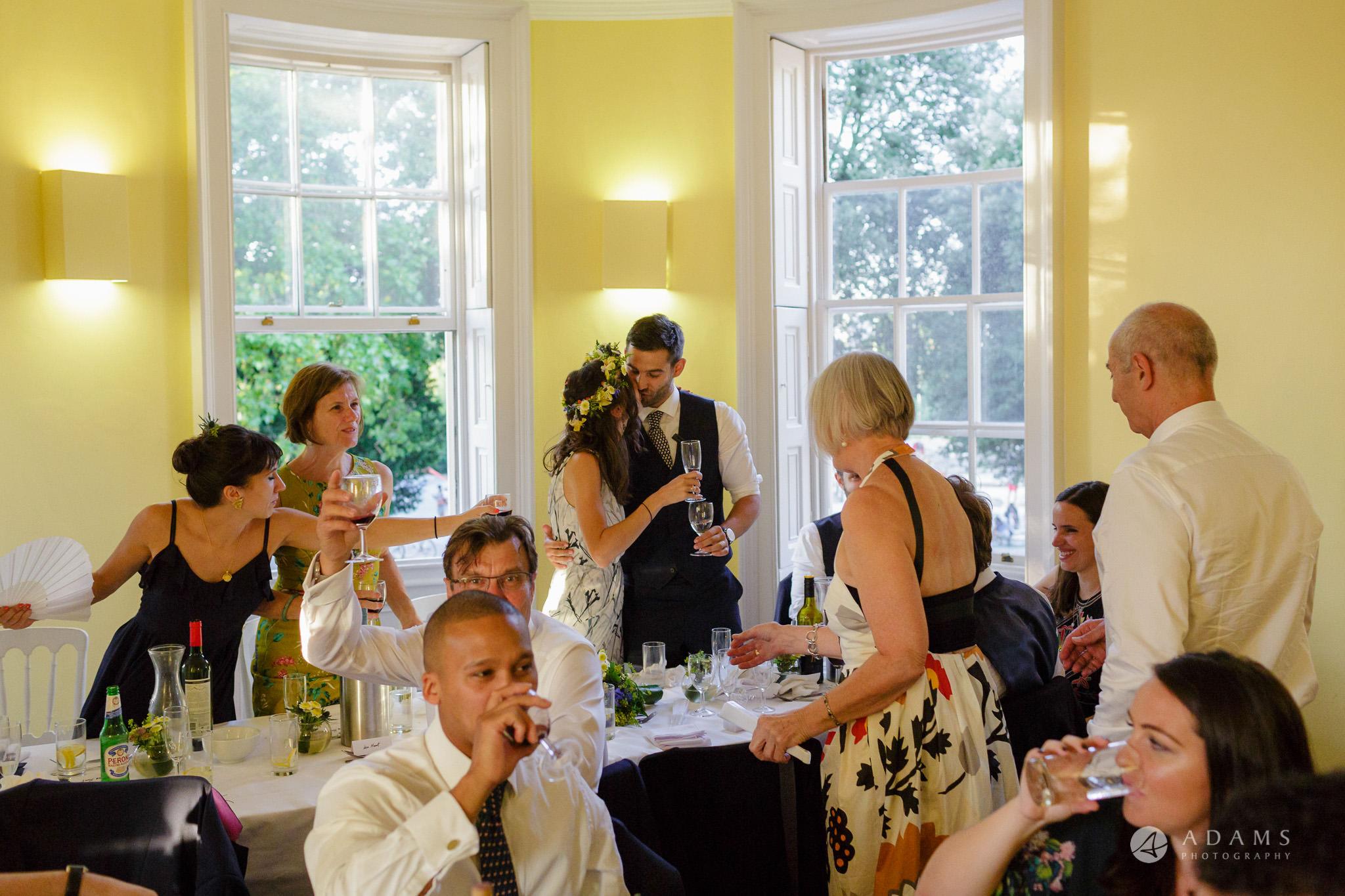 Clissold house wedding bride kiss the groom