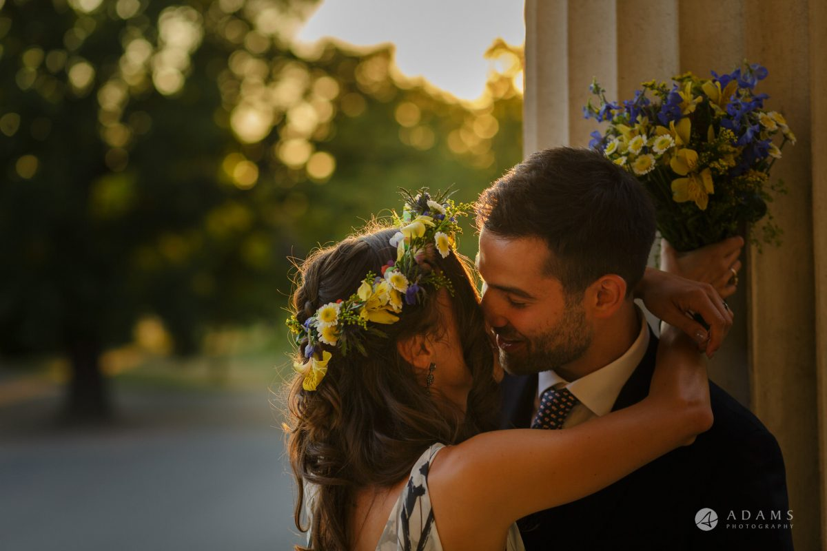Clissold house wedding bride and groom intimate moment kissing
