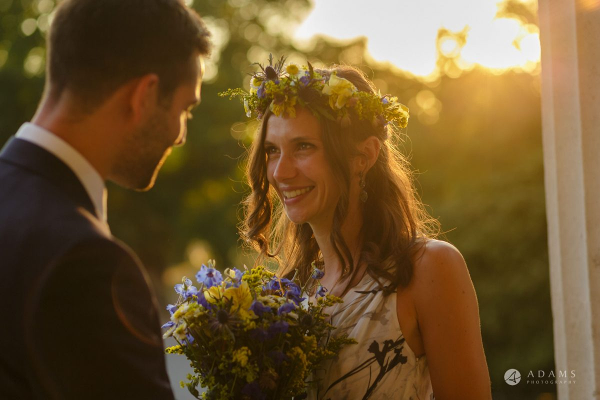Clissold house wedding golden hour portrait