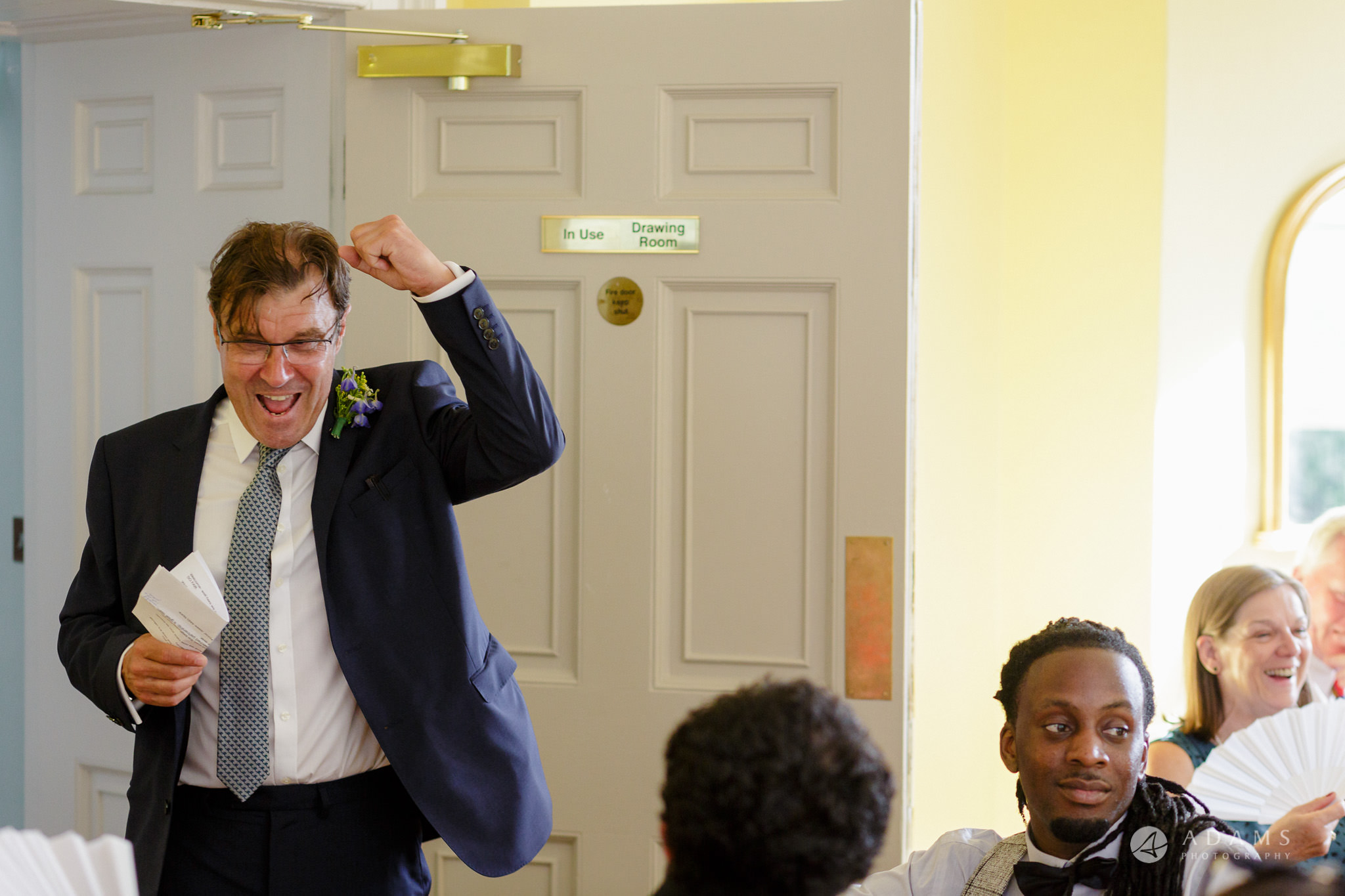 Clissold house wedding father of the bride in full happines