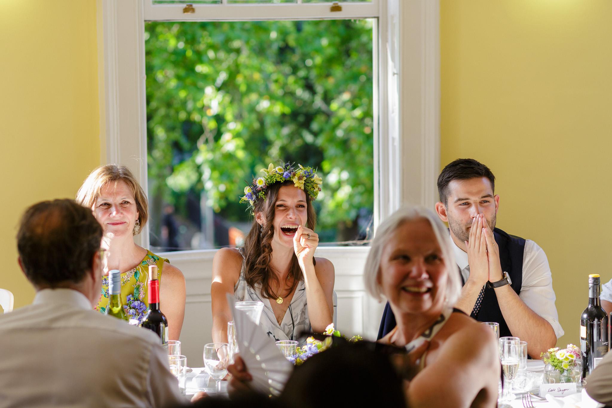 Clissold house wedding bride laughs