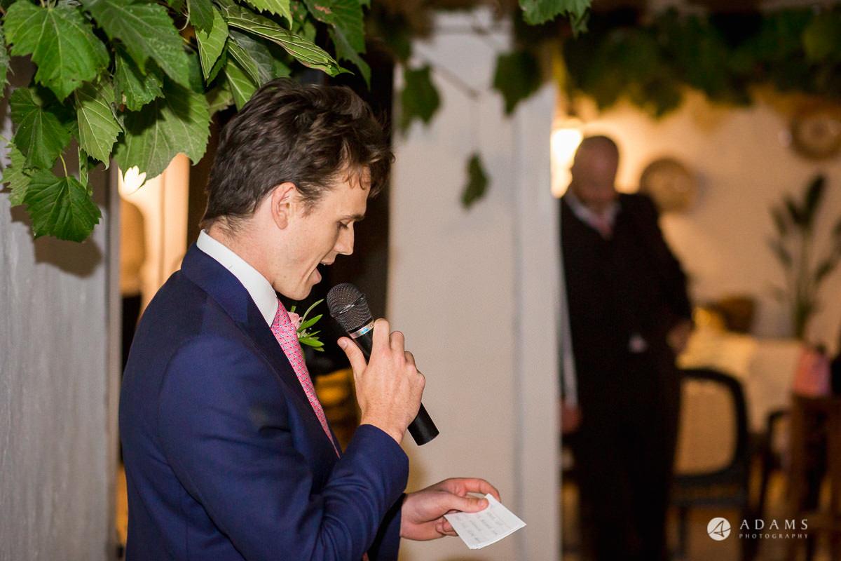 Spain Wedding Photographer brother of the groom speech