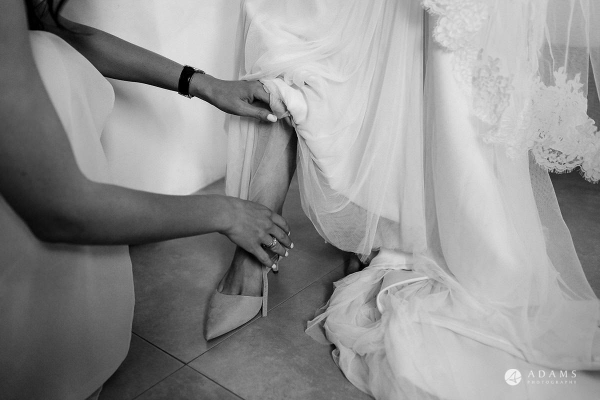 Destination Spain Wedding photos bride shoes