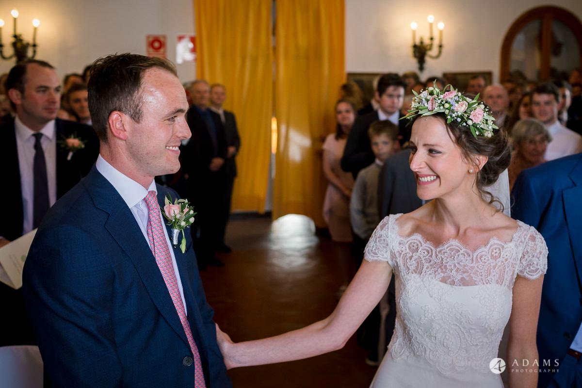 Destination Spain Wedding photos bride welcomes the groom