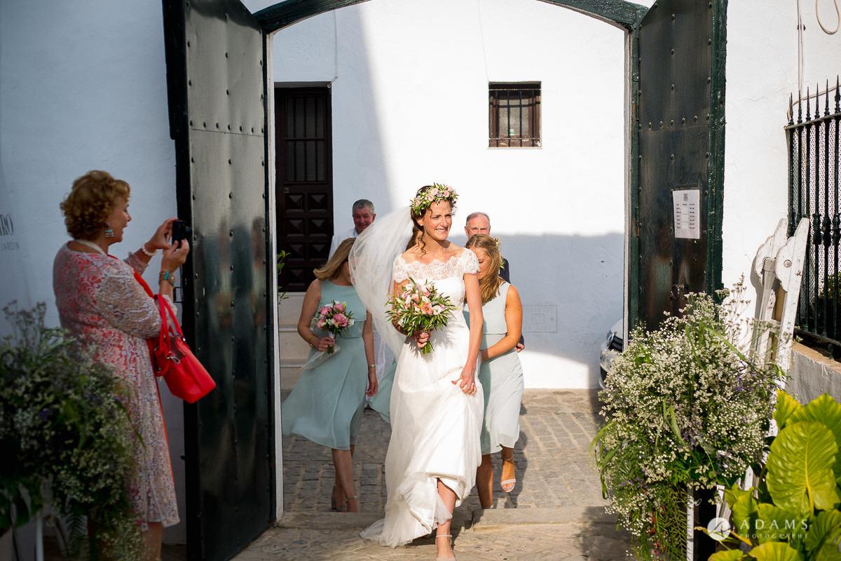 Destination Spain Wedding photos bride arrives to the venue