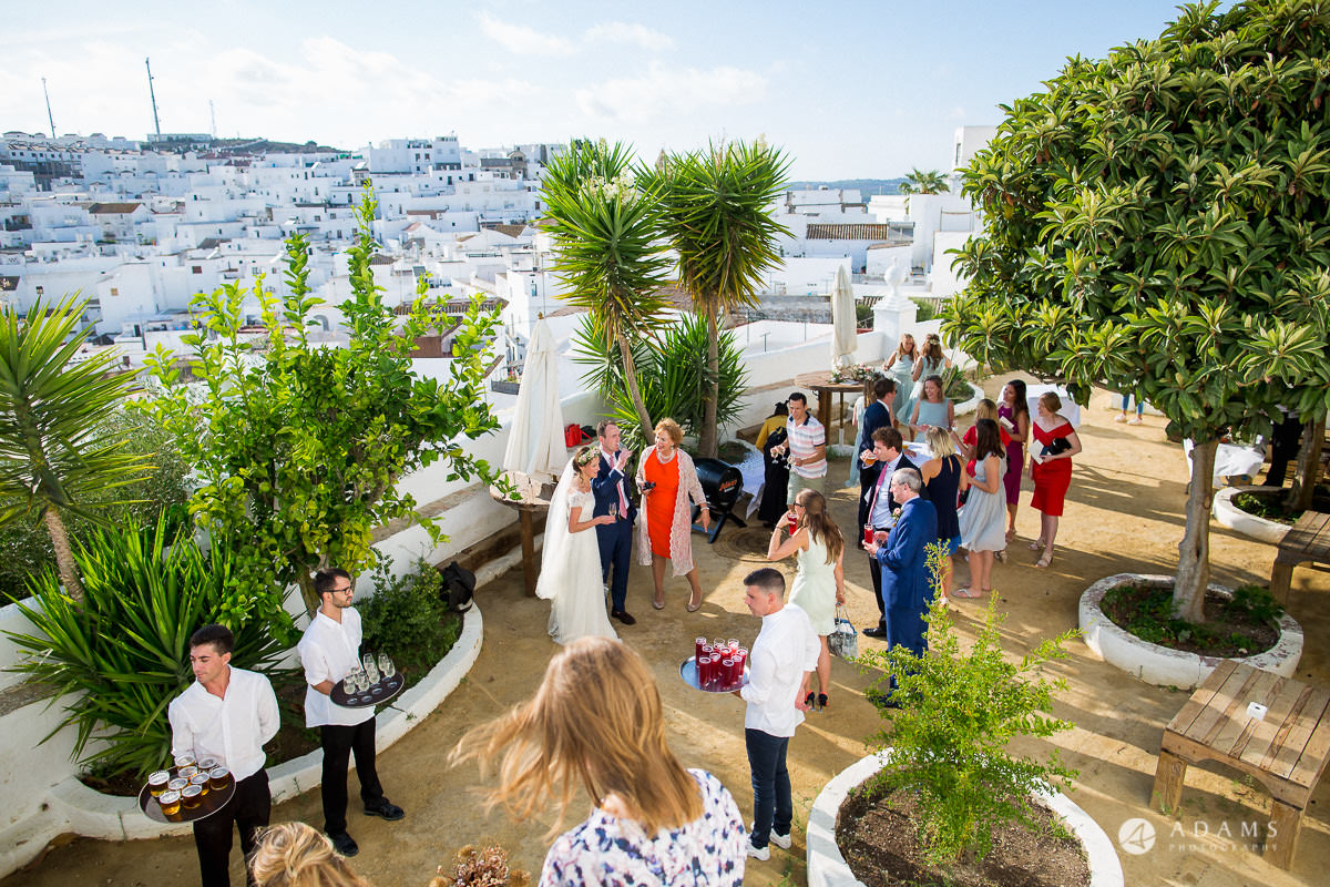 Destination Spain Wedding photos view of the Vejer with guests