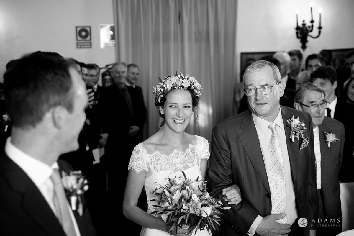 Destination Spain Wedding photos bride arrives with her father