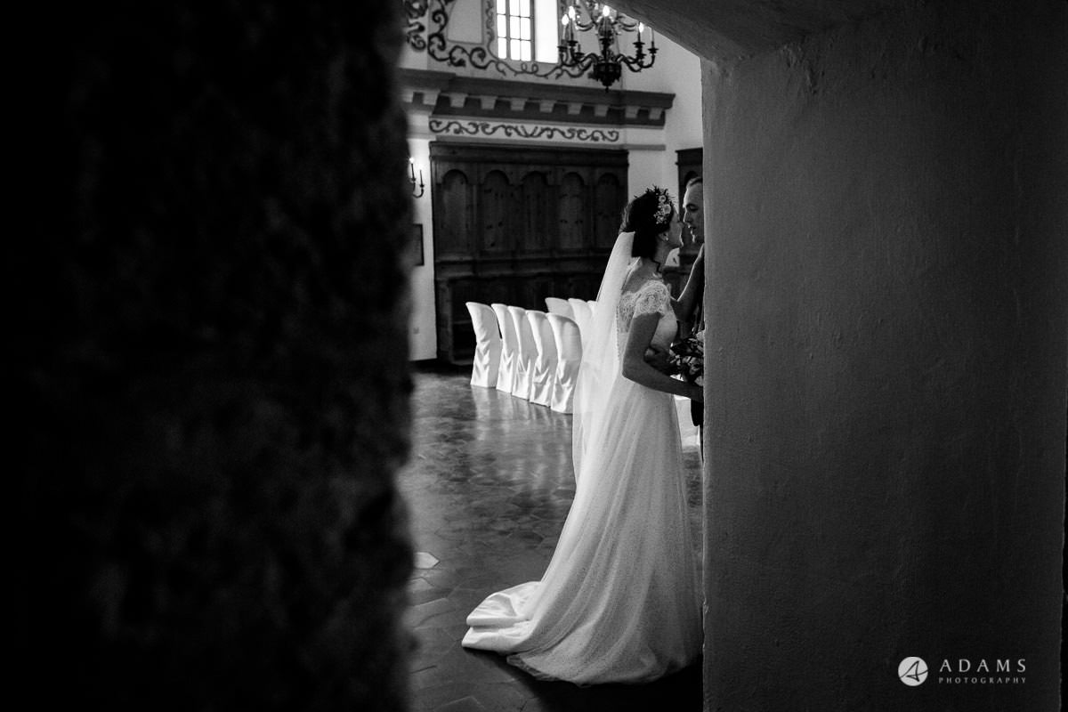 Destination Spain Wedding photos bride and groom wait for the guests