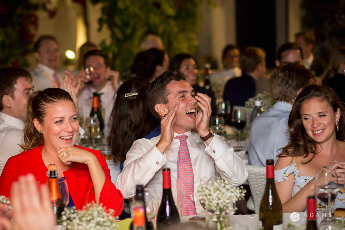 Destination Spain Wedding Photographer uets reaction to the speeches