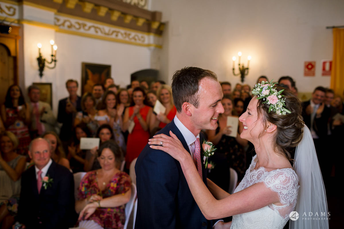 Destination Spain Wedding photos first kiss