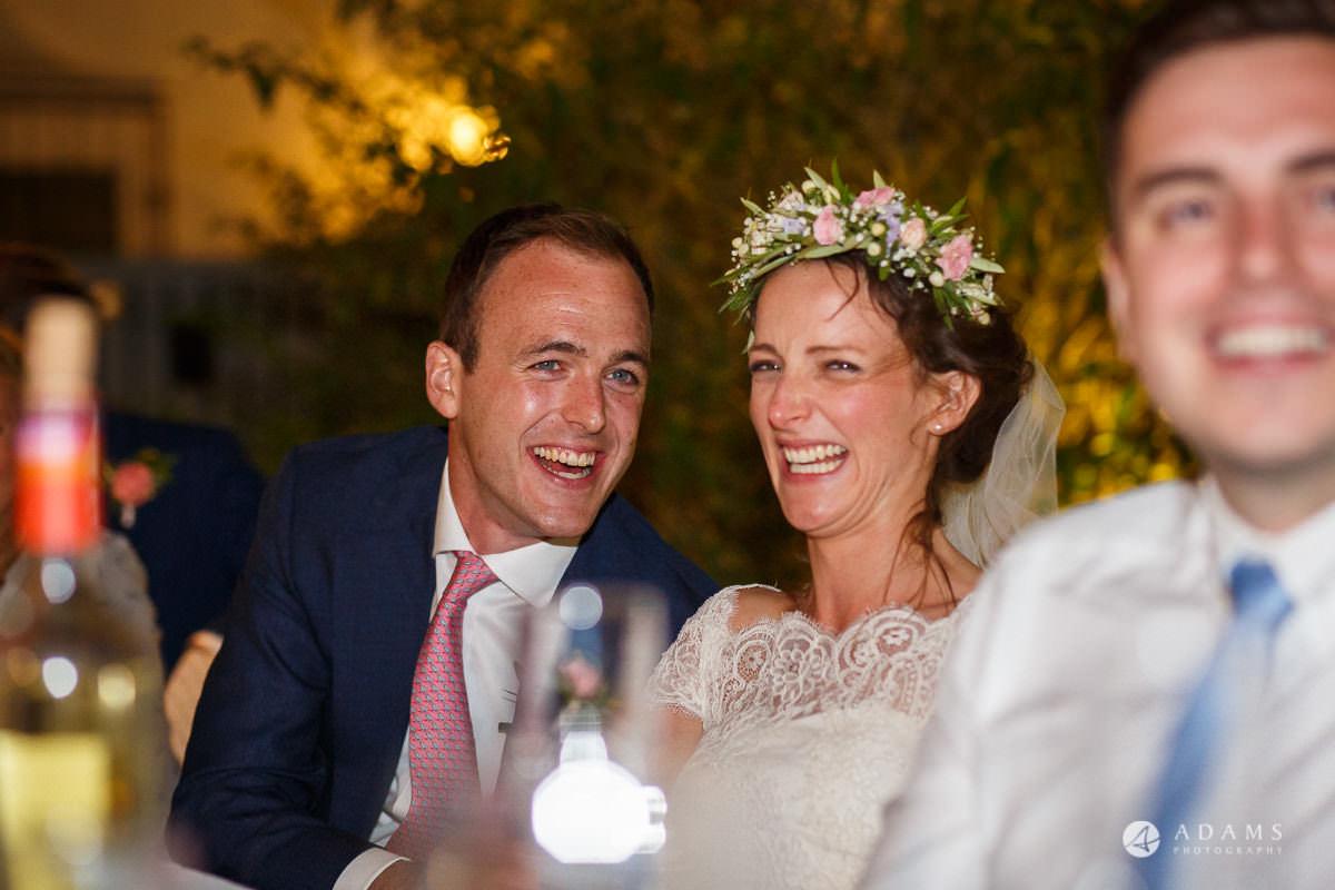 Destination Spain Wedding Photographer couple reaction to the speech