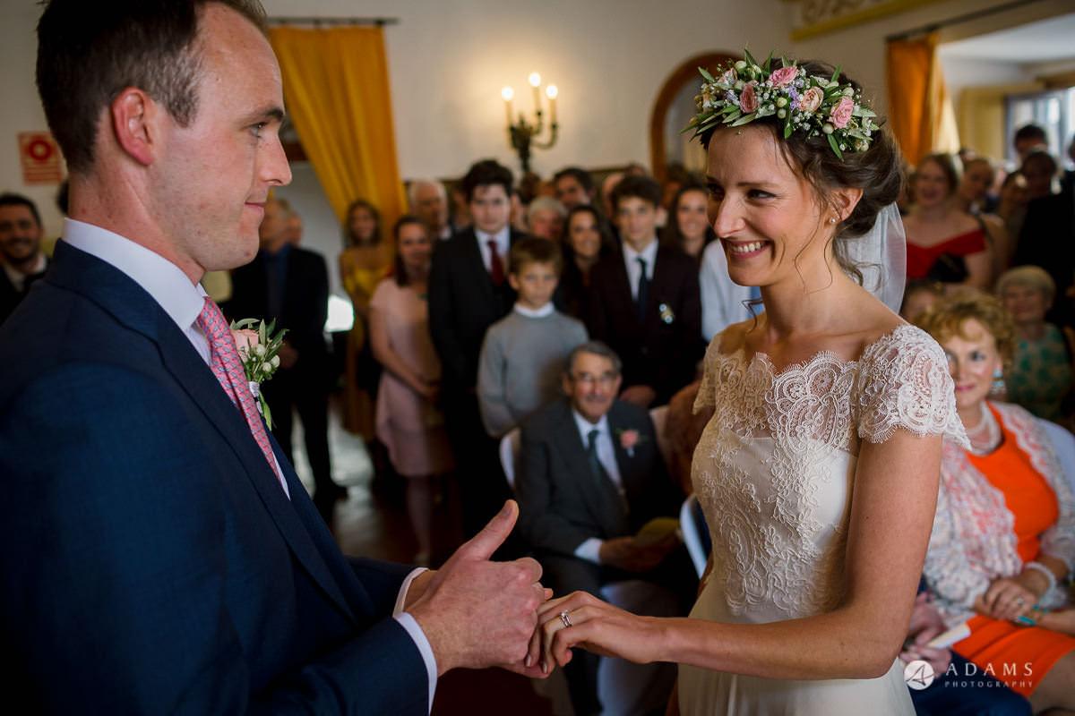 Destination Spain Wedding photos bride and groom hold hands