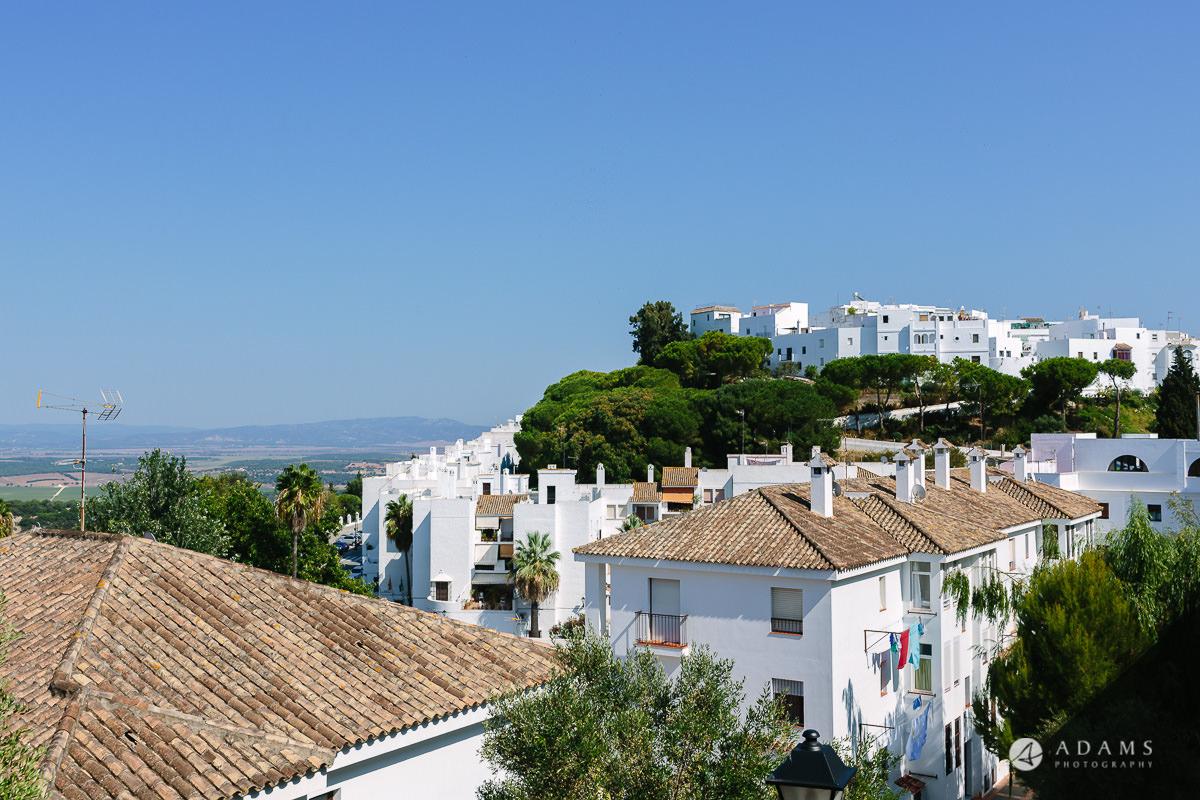 Destination Wedding Photographer Spain view of Vejer