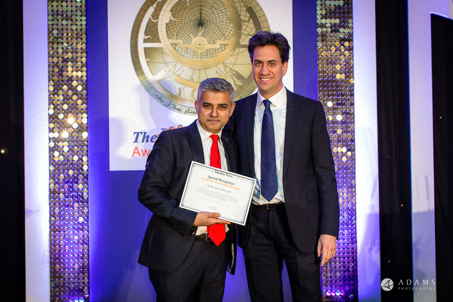 London event photographer Ed Miliband and Sadiq Khan posing for a photo