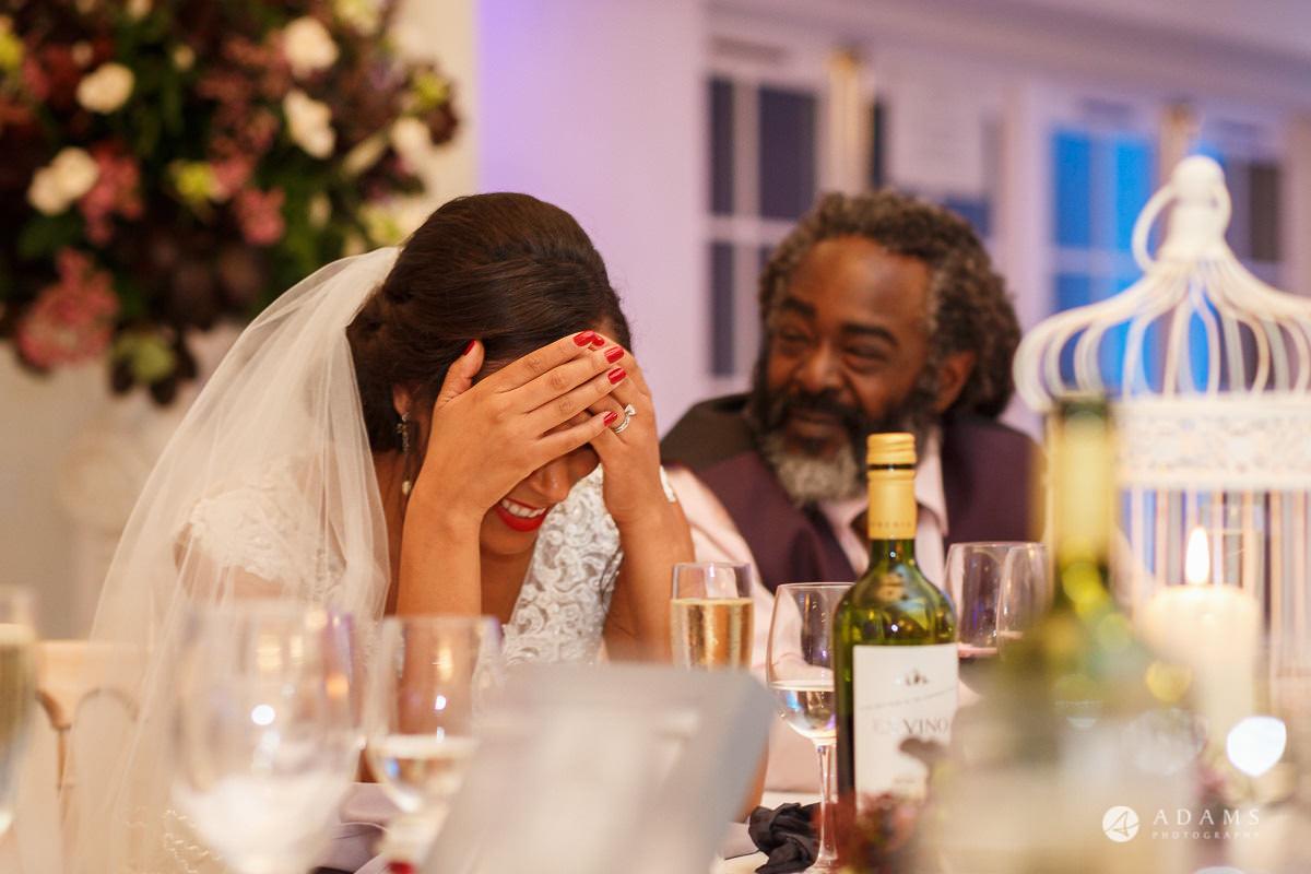 Froyle Park wedding bride reaction to the speeches