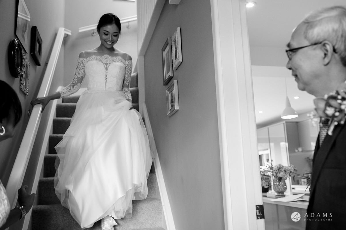 the lost orangery wedding bride walking down the stairs