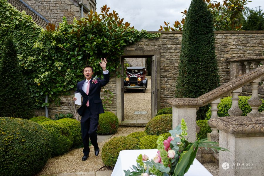 the lost orangery wedding photographer guest are welcomed and greeting