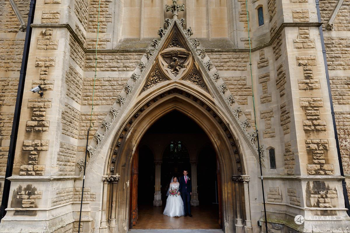 the lost orangery wedding the couple leave the church