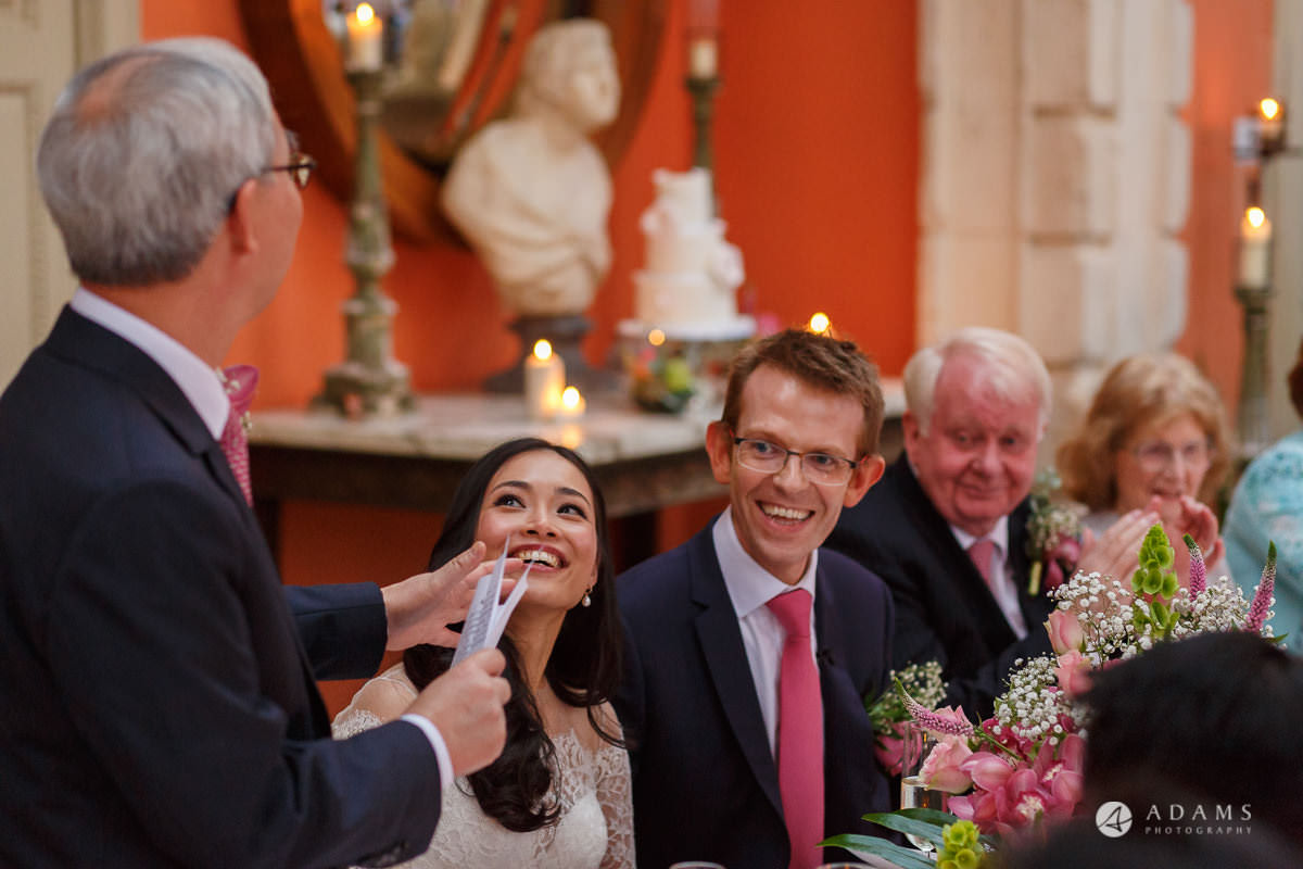 the lost orangery wedding bride and groom reaction to the father of the bride speech