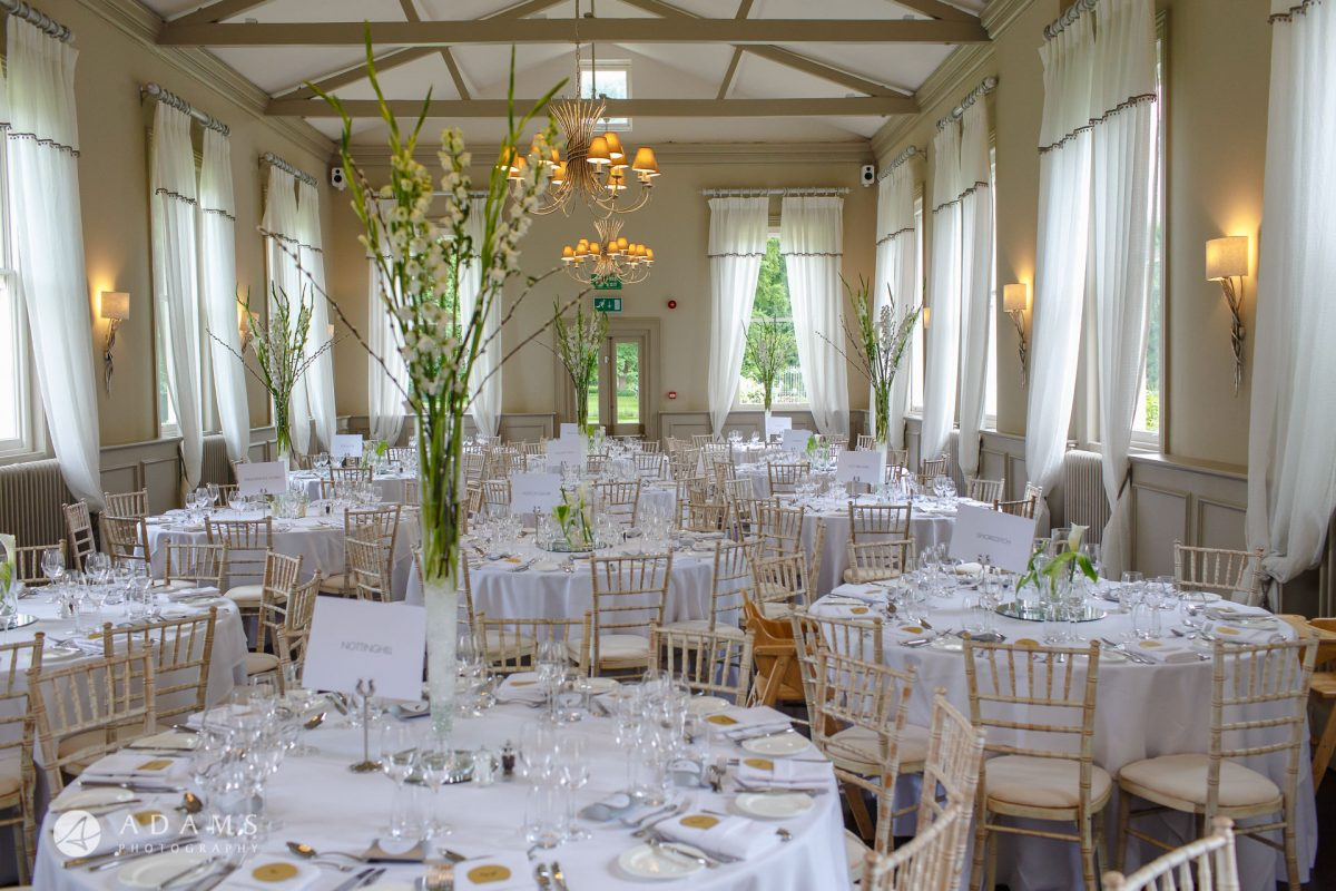 Morden Hall Wedding photo of the dinner room