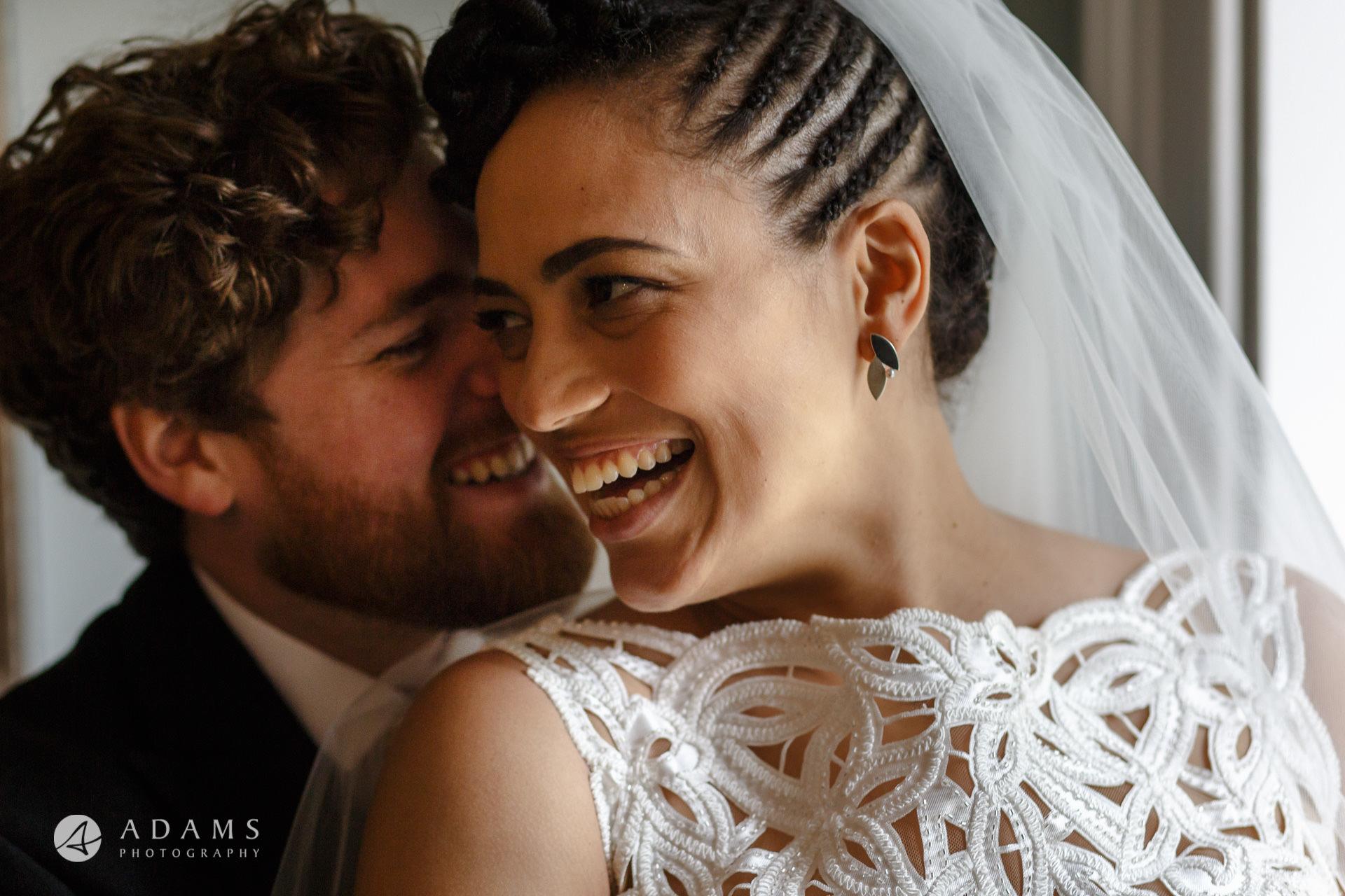Morden Hall Wedding photo great smile on both bride and groom