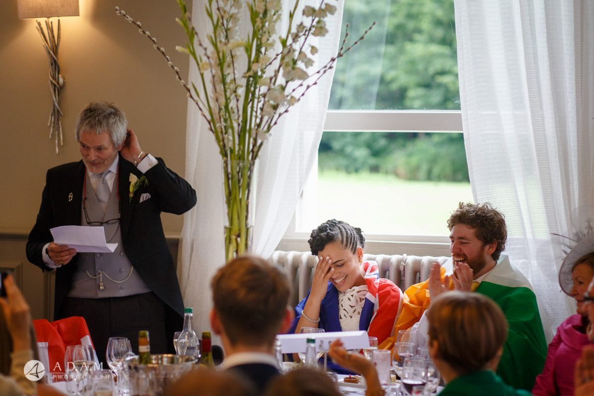 Morden Hall Wedding photographer father of the bride tells a joke reaction
