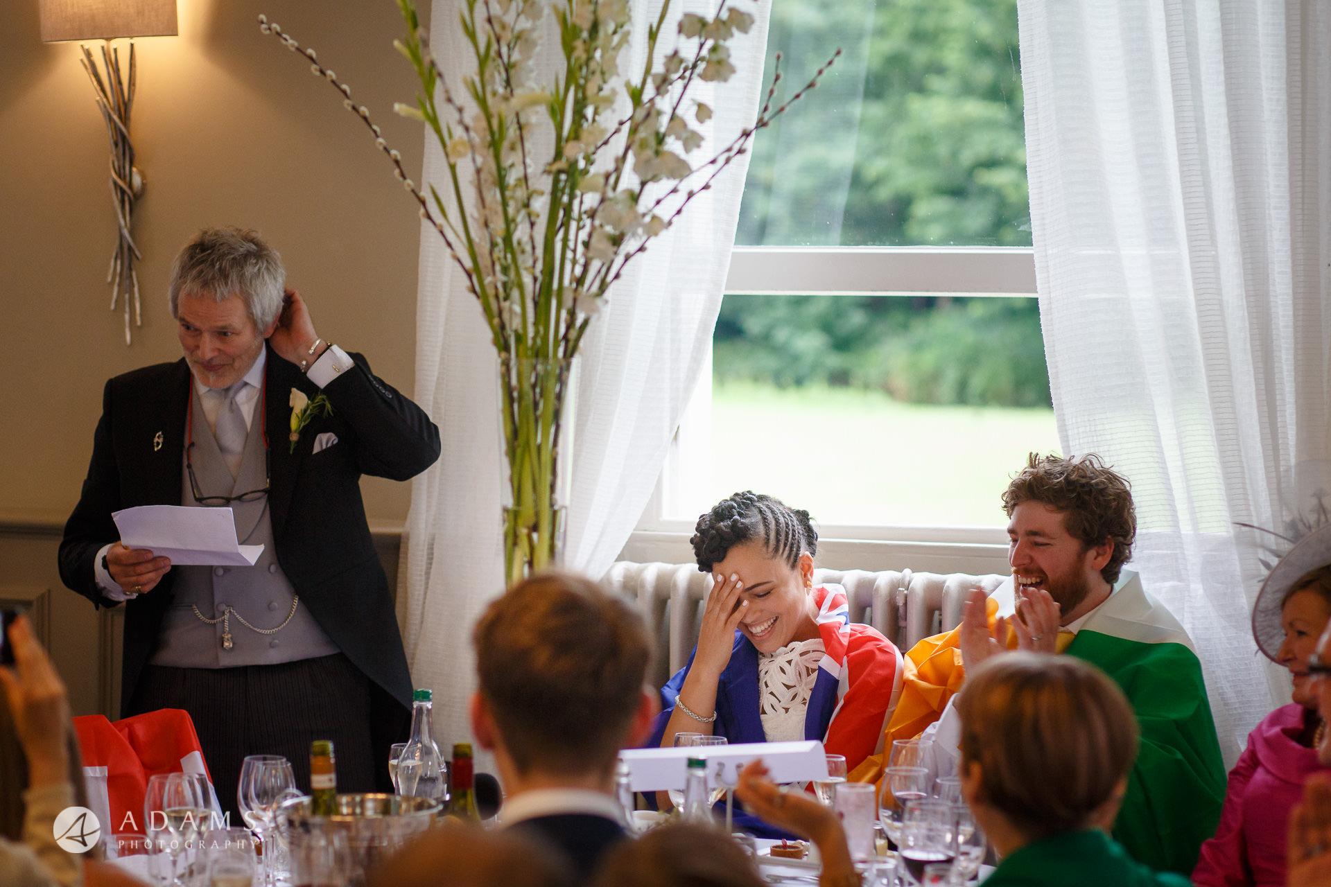 Morden Hall Wedding photographer father of the bride tells a joke reaction