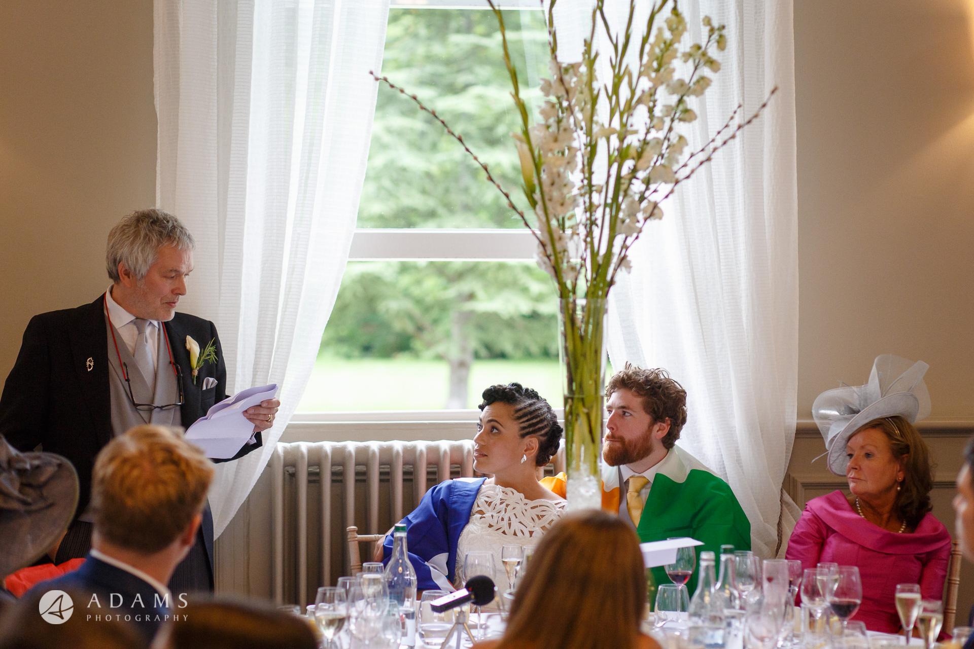 Morden Hall Wedding photographer father of the bride speech