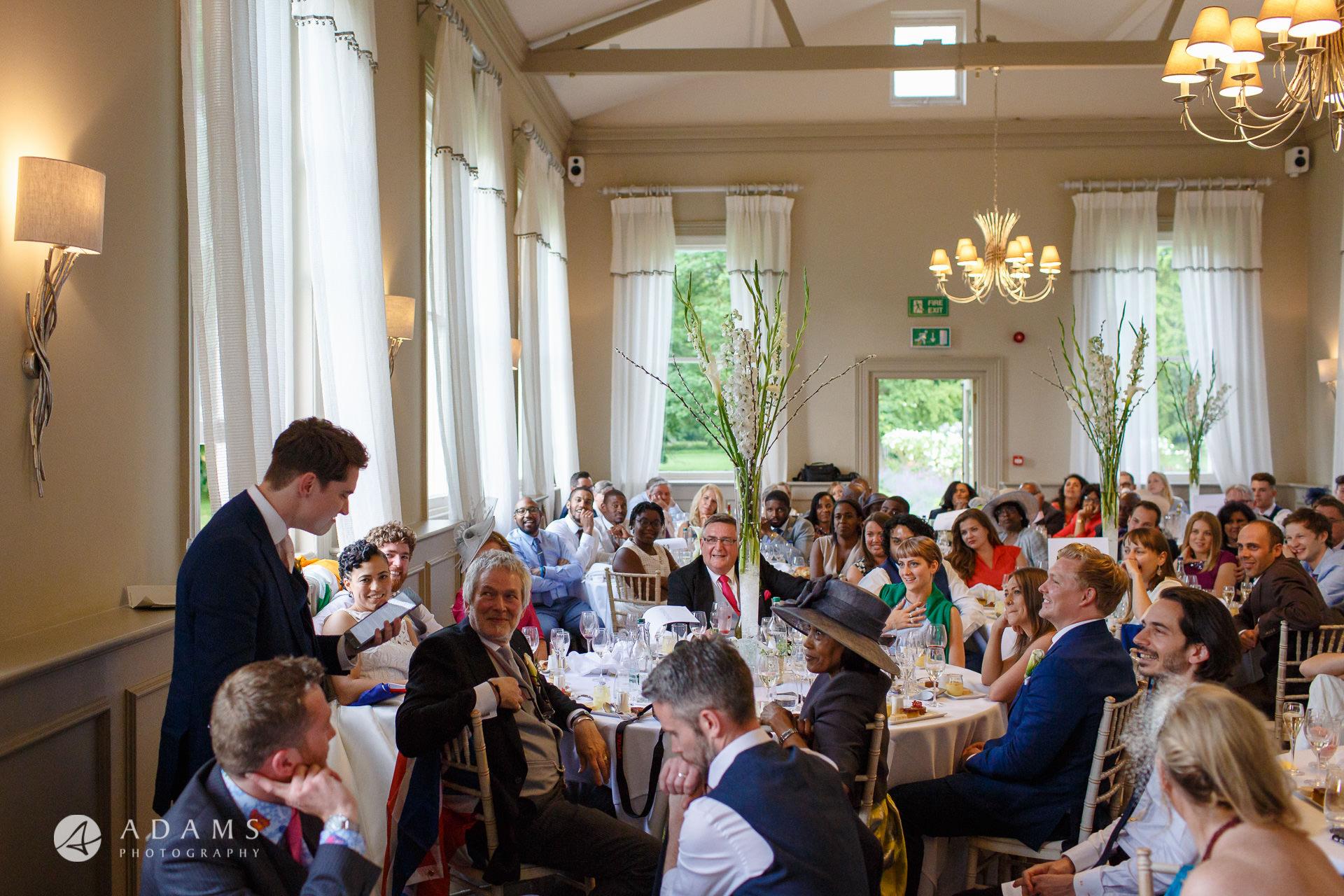 Morden Hall Wedding photographer best-man speech