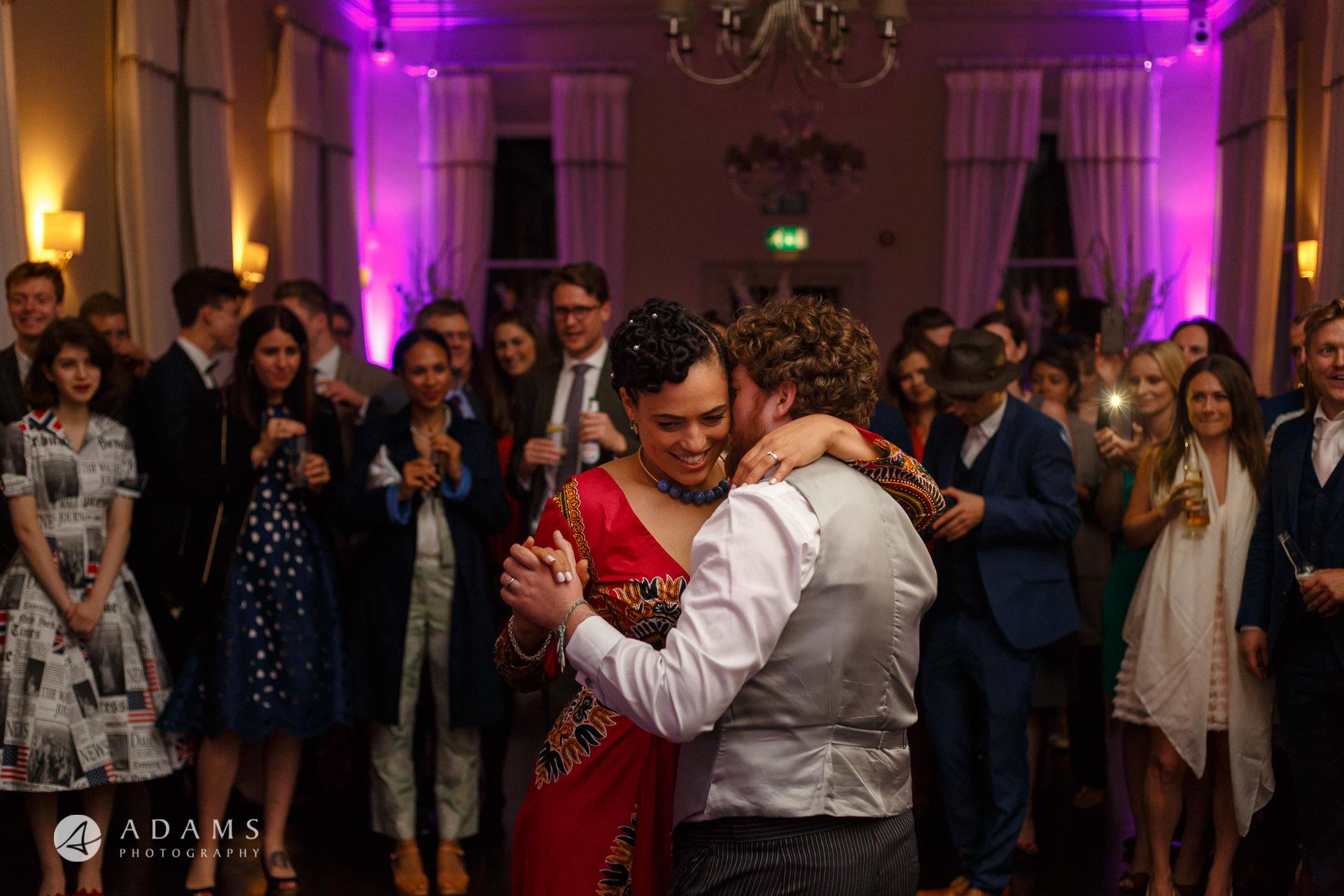 Morden Hall Wedding first dance hugging