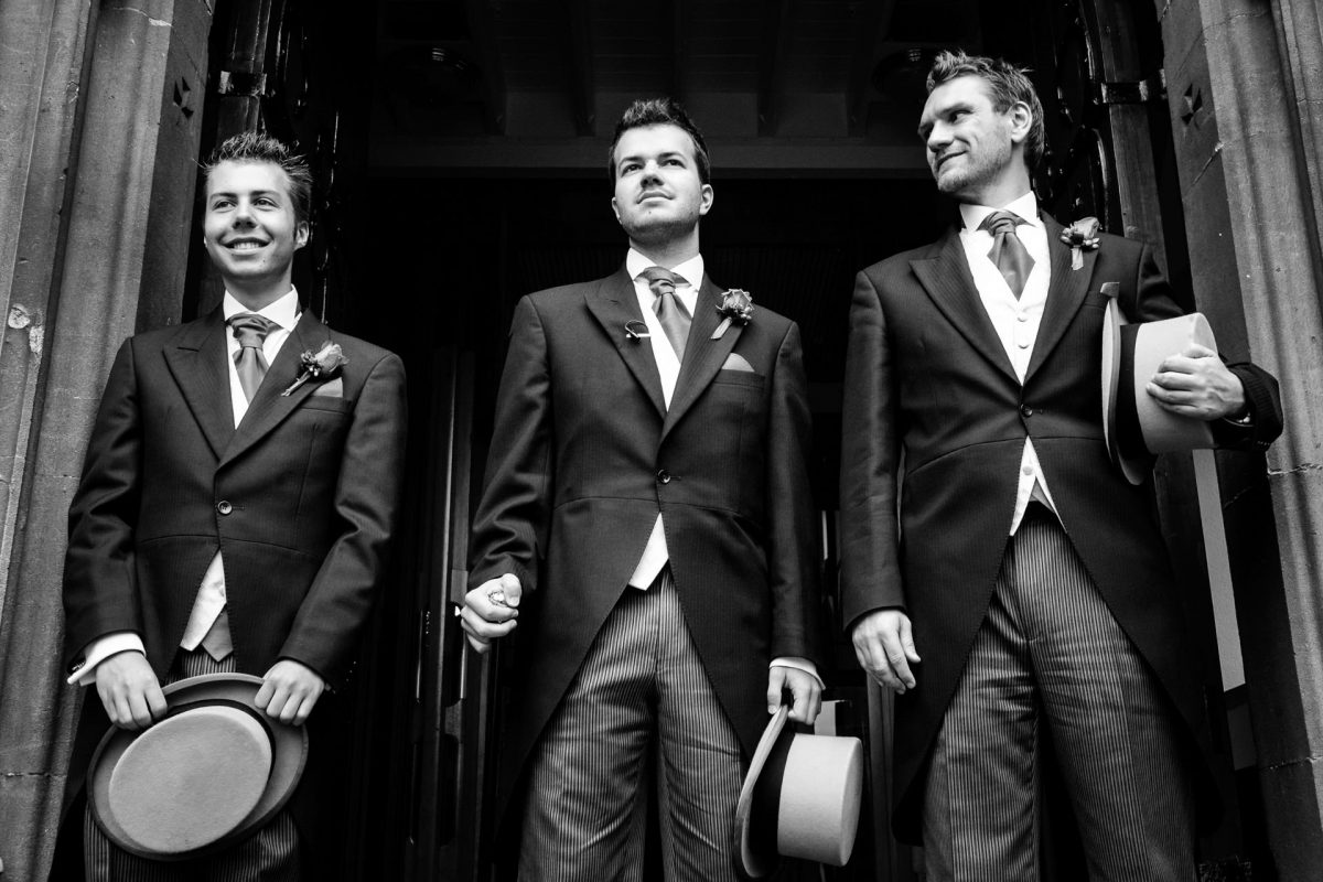 London Wedding Photography Portfolio groom and his groomsmen waiting for the bride