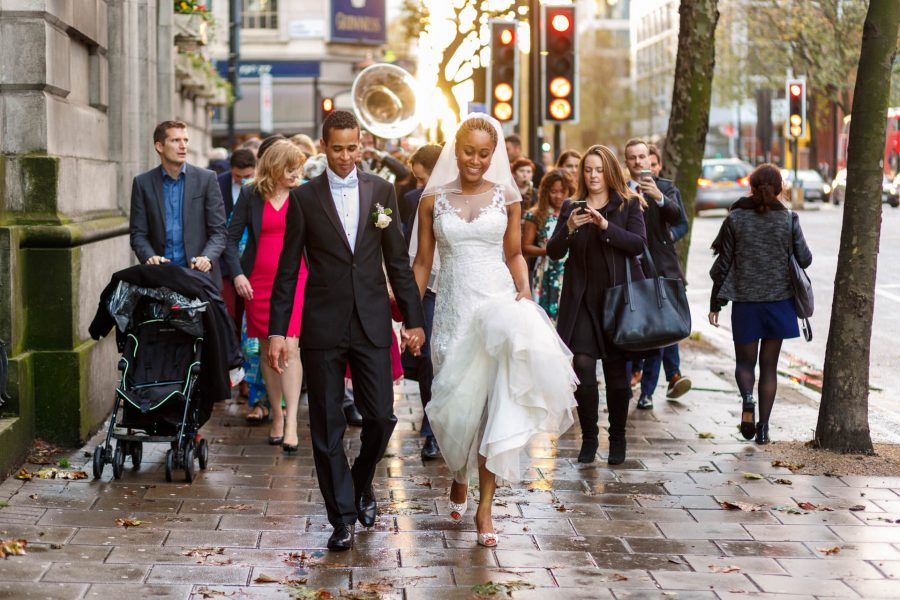 London Wedding Photography Portfolio bride and groom walk together