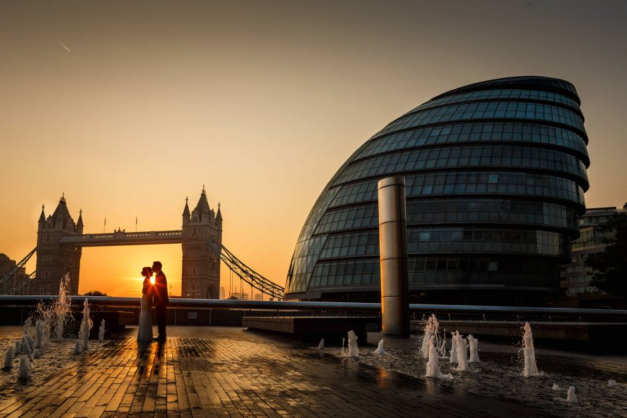 Chinese Couple Posing Tower Bridge London For Engagement Photo