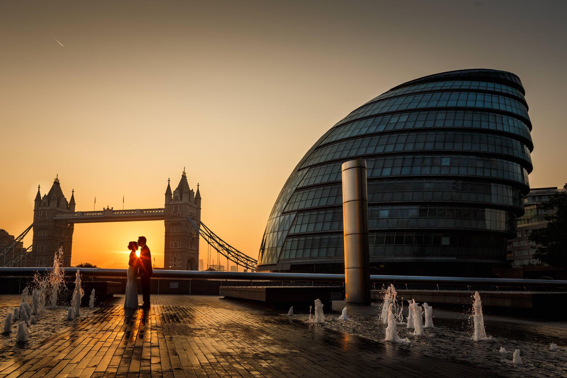 Chinese Couple Posing Tower Bridge London For Engagement Photo