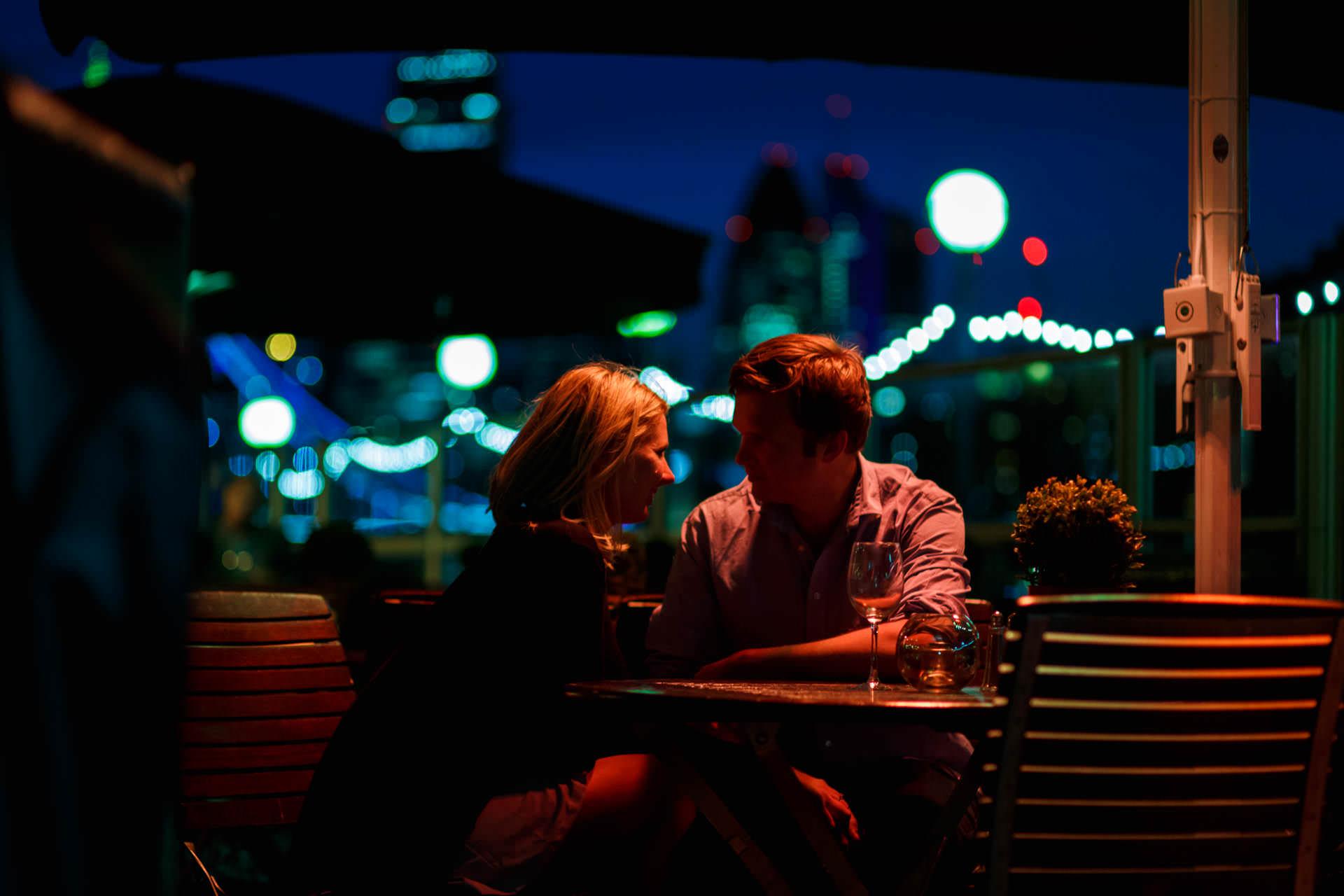 Engagement Photos London Restaurant