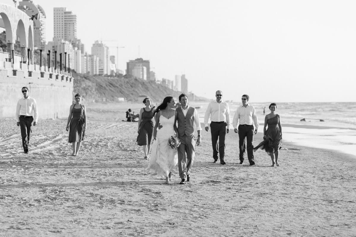 Jewish Bridal Party Walking Beach Photography Tel Aviv