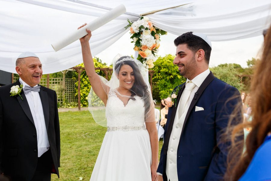 Jewish Bride Happy Holding Ketubah London