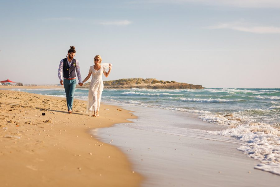 Jewish Wedding Photographer Couple Waling Beach Israel