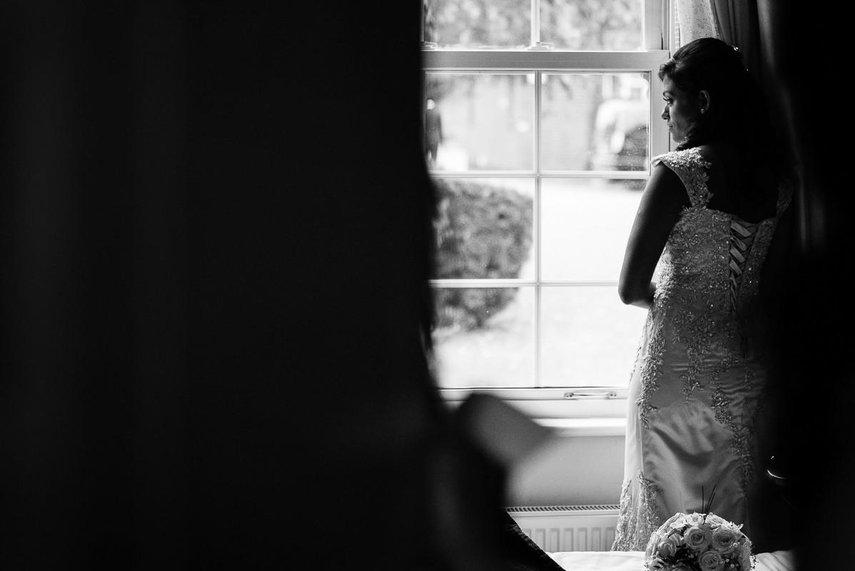 Tamil Bridal Portrait Photo Looking Through Wondow
