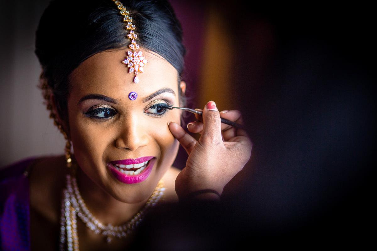 Tamil Bride Getting Ready Fer Wedding London