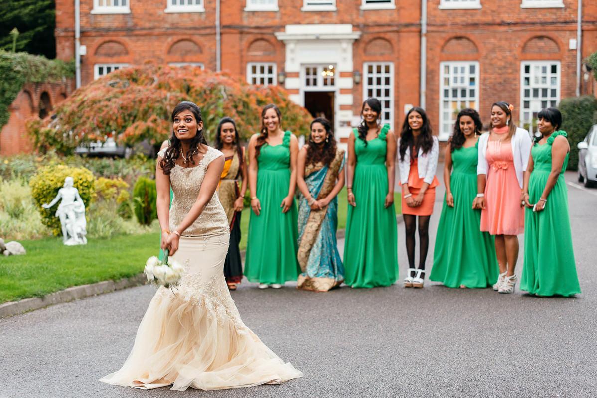 Tamil Bride Throwing Bouquet
