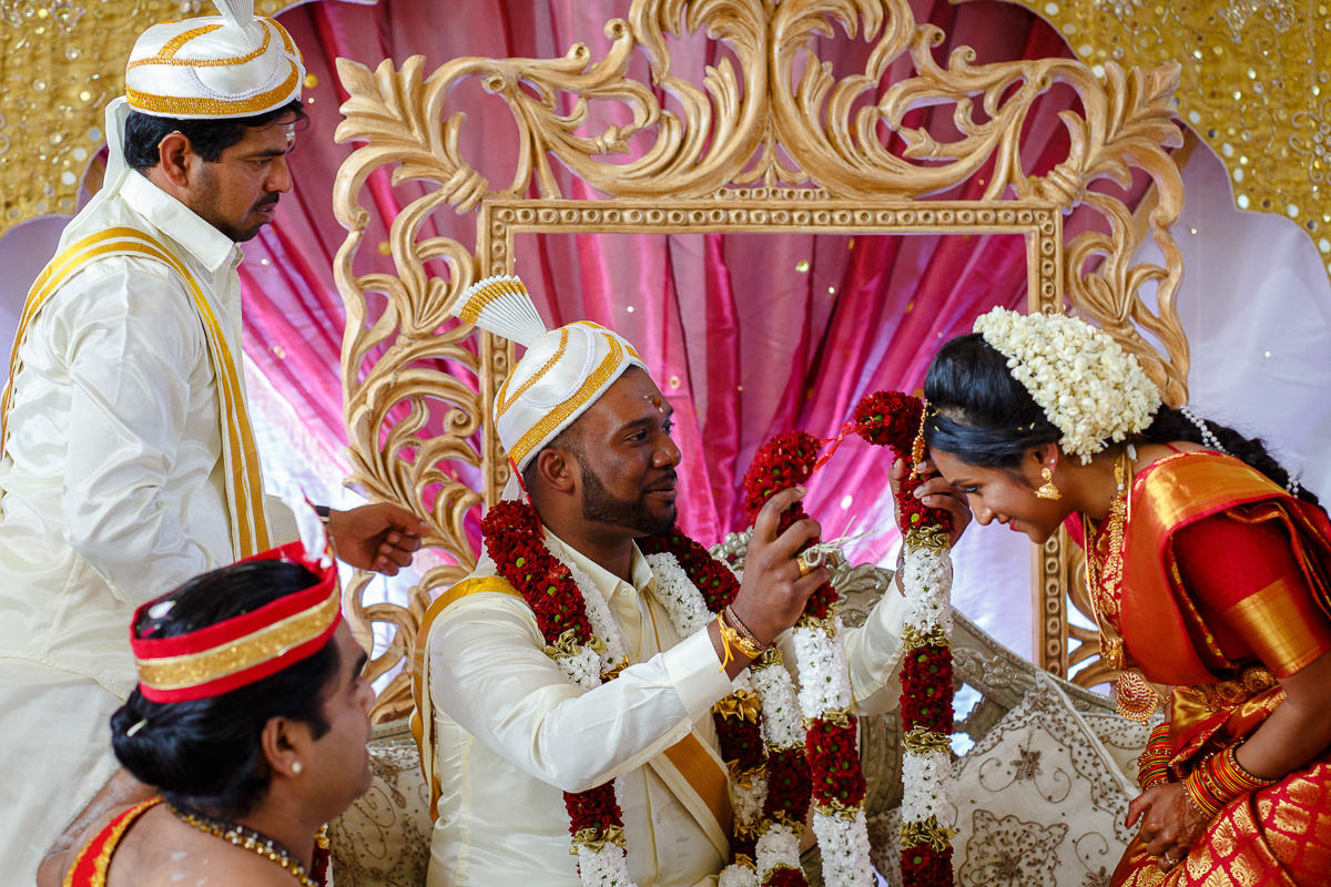 Tamil Groom Putting Garlands Bride During Hindu Ceremony