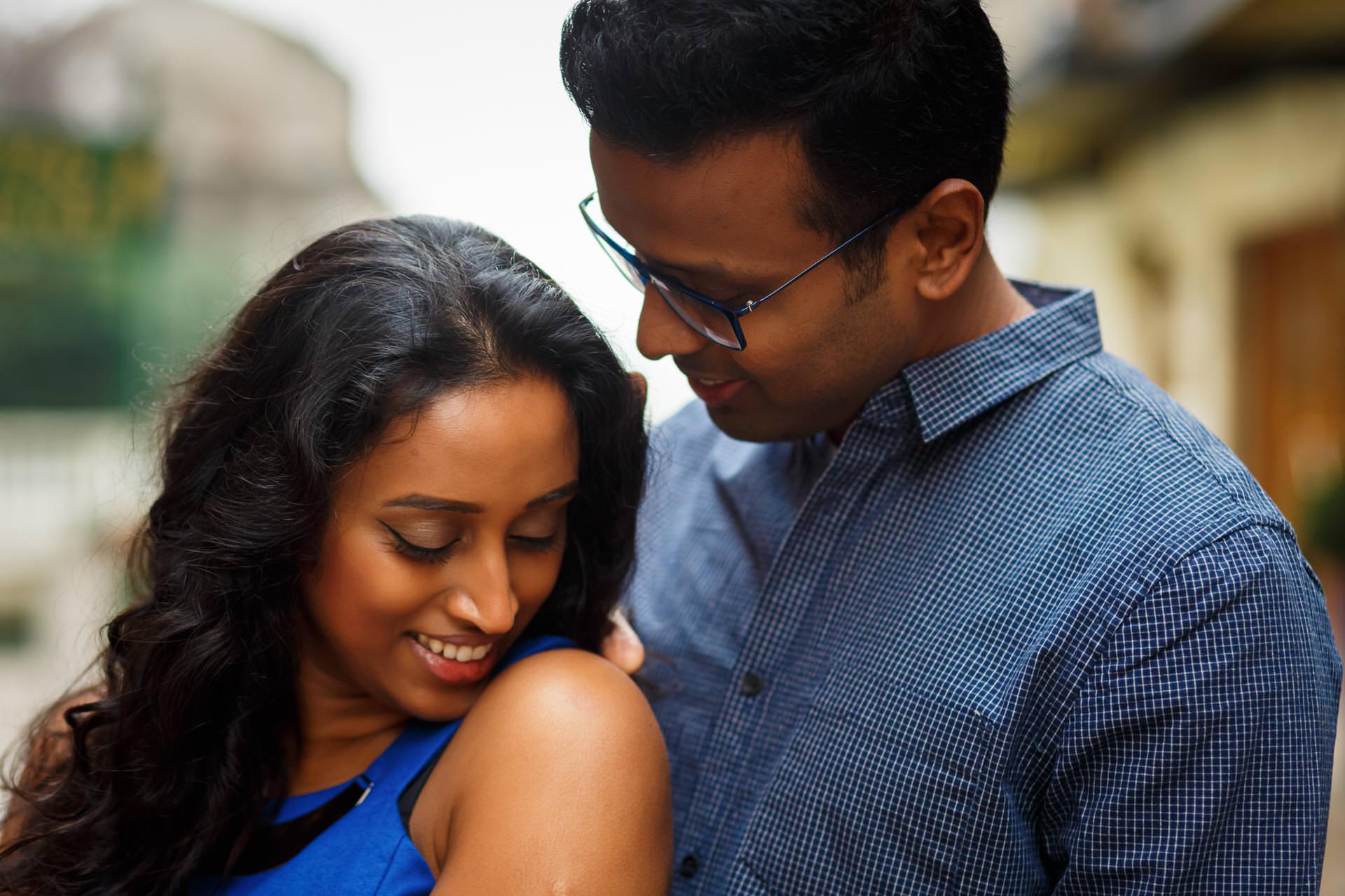 Tamil Photo Session Groom Hugs Bride