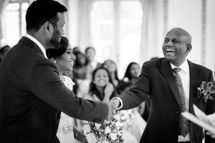Tamil Wedding Civil Ceremony Groom Shakes Hand Father Of Bride