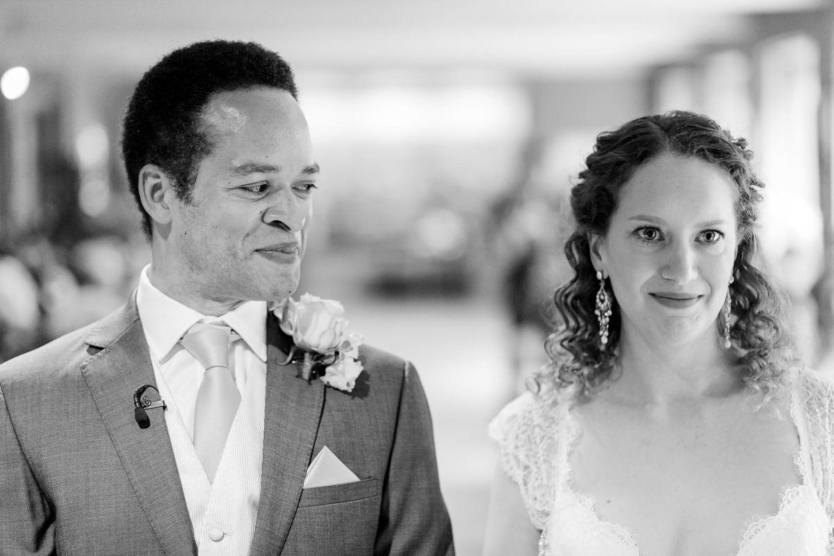 Groom Looks At Bride At London Wedding