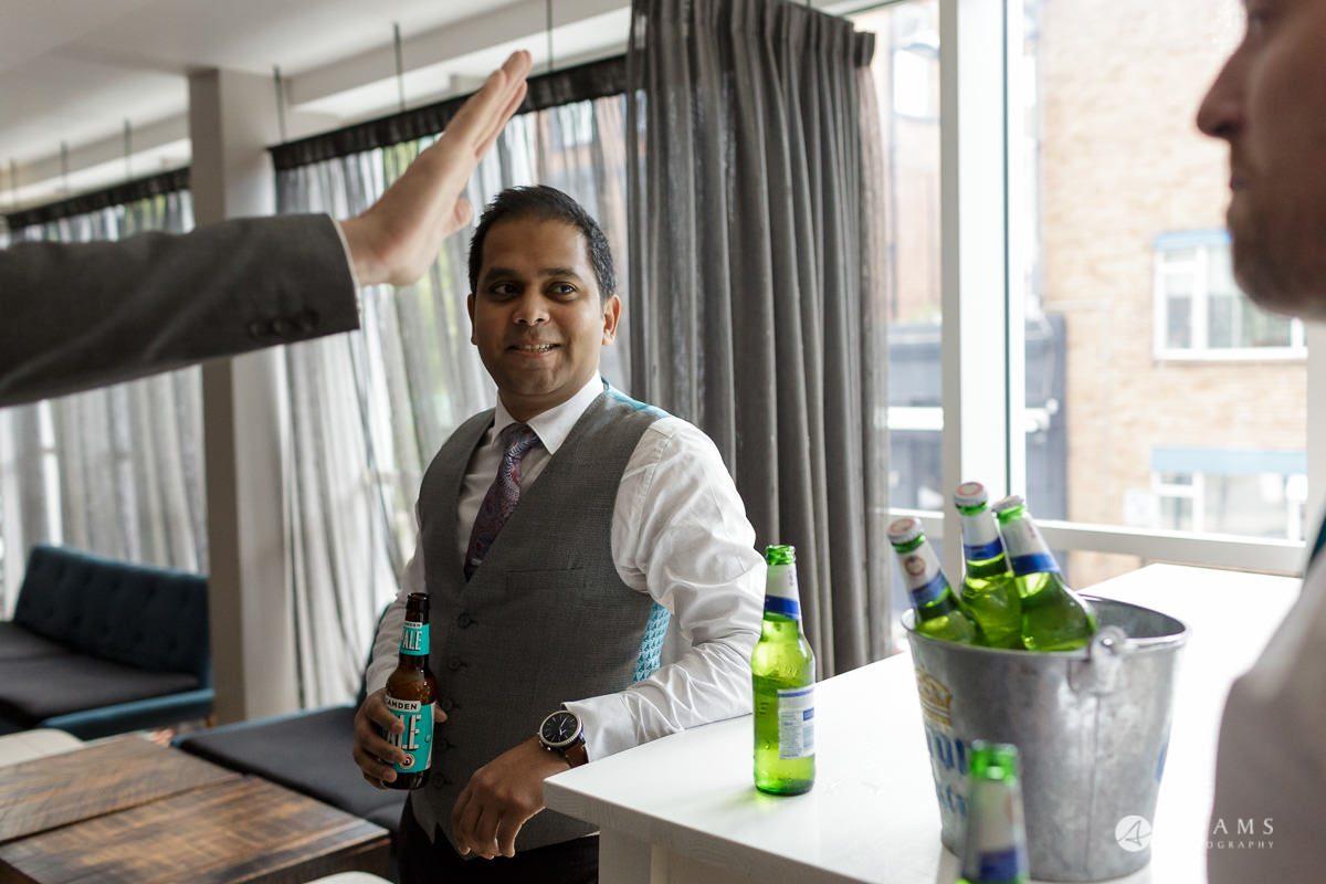 Camden Town wedding groom drinking beer