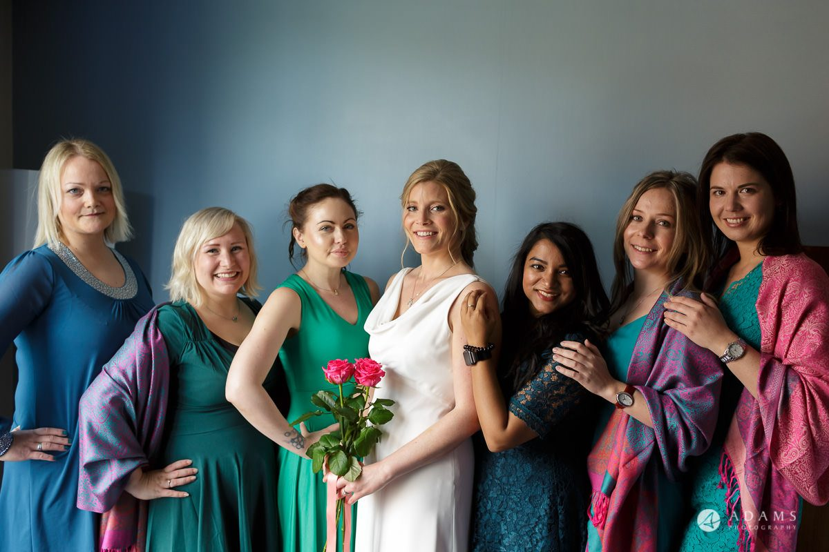 Camden Town wedding bride and bridesmaids group photo