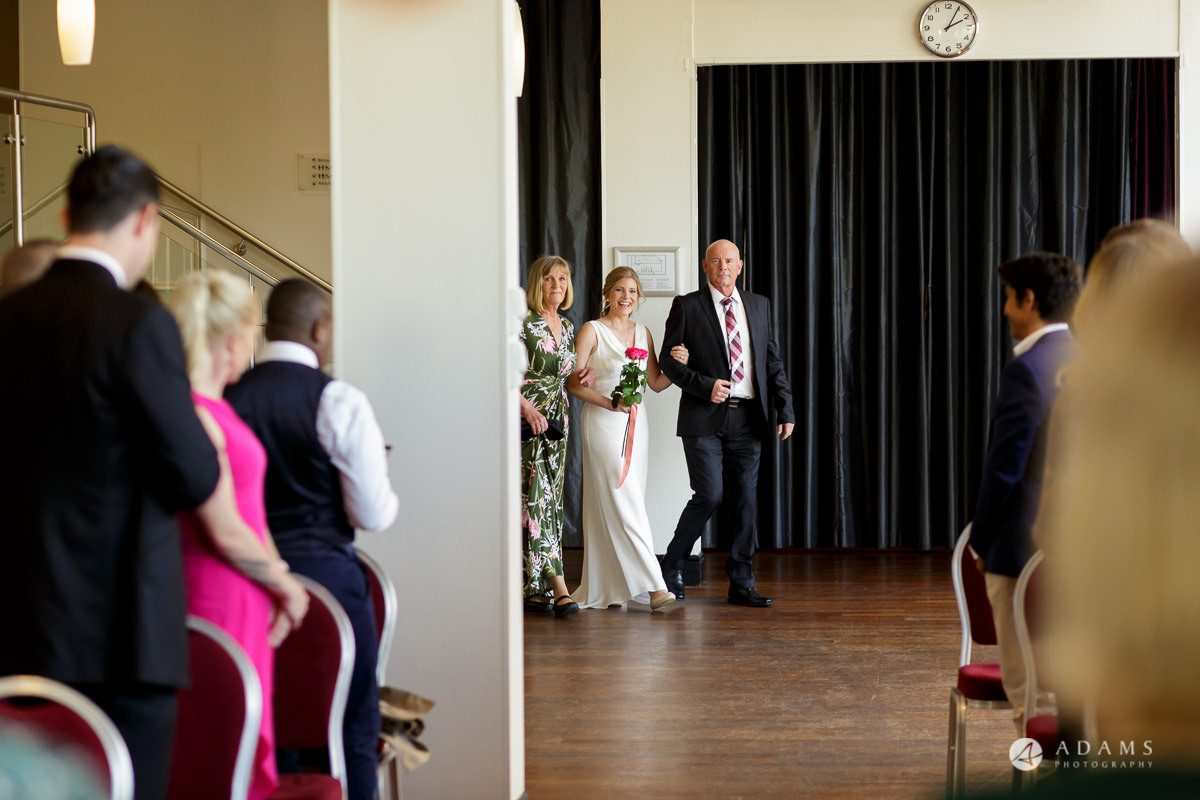 Camden Town wedding bride walks down the aisle with here father